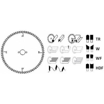 HM cirkelzaagblad Ø 250 voor afkortzaag 48 tanden WF