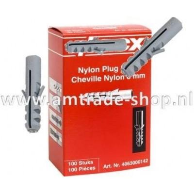 Nylon plug 8mm doos a 100 stuks